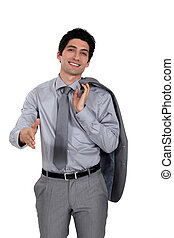 Confident young businessman offering to shake hand