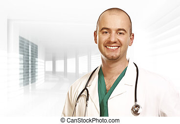 confident young doctor modern background