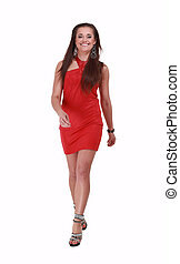 confident young woman in a red dress.