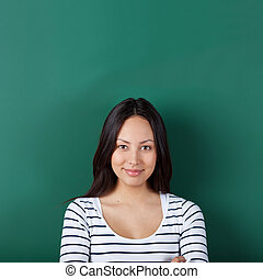 confident young woman in classroom - confident young woman ...