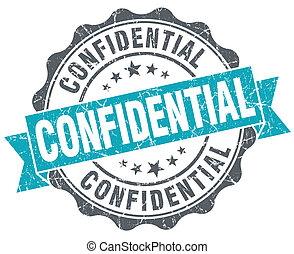 Confidential blue grunge retro style isolated seal