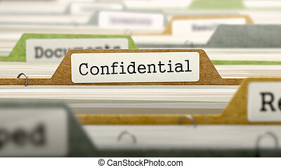 Confidential Concept. Folders in Catalog.