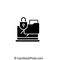 Confidential documents black icon concept. Confidential documents flat vector symbol, sign, illustration.