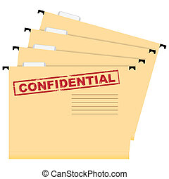 Confidential documents - A set of folders with a stamp...