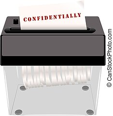 Confidential documents in the shredder