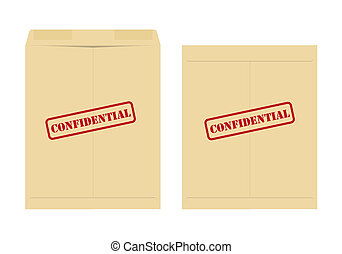 Two confidential envelope, one open and one closed