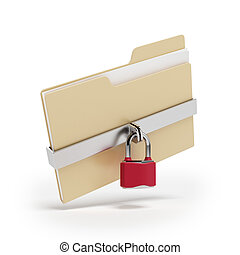 Confidential files. Padlock on folder - Confidential files. ...