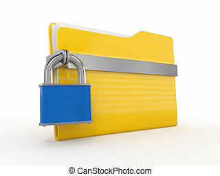 Confidential files. Padlock on folder on white background....