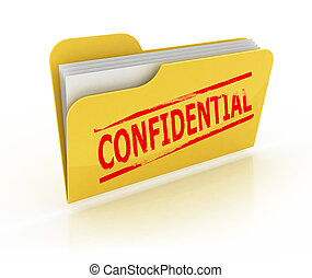 confidential folder icon over the white background