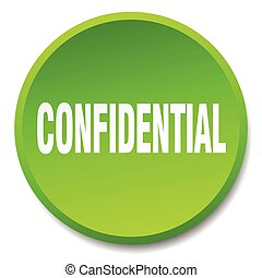 confidential green round flat isolated push button