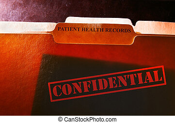 file folders with Patient Health Records label and Confidential stamp