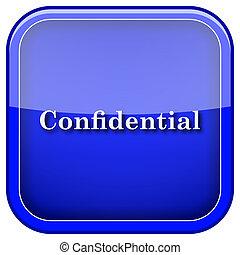 Confidential icon - Square shiny icon with white design on...