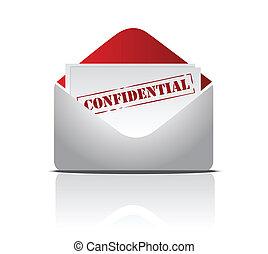 confidential mail illustration design over s white...