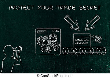 confidential prototype & man spying on it, concept of trade...