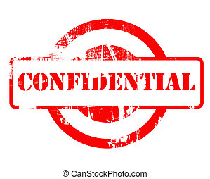 Confidential red stamp with copy space isolated on white...