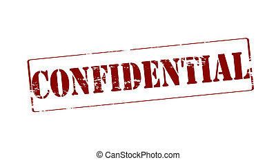 Confidential - Rubber stamp with word confidential inside,...