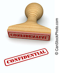 Confidential stamp test on white paper (High resolution 3d...