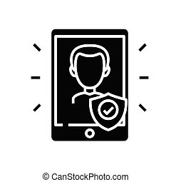 Confidentiality black icon, concept illustration, vector flat symbol, glyph sign.
