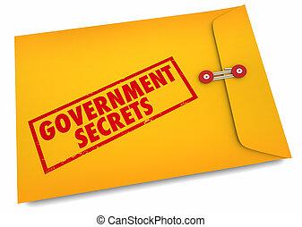 confidentiel, gouvernement, secrets, classifié, enveloppe, illustration, 3d