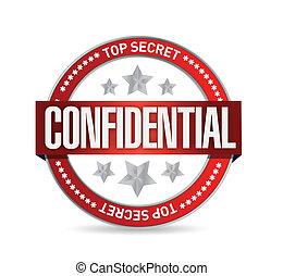 confidenziale, sigillo, illustrazione, disegno