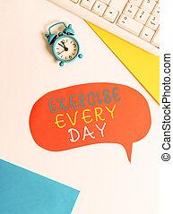 configuração, letra, escrita, saudável, papel, relógio, cópia, significado, adquira, cada, movimento, clips., ajustar, texto, apartamento, espaço, day., energeticamente, exercício, corporal, ordem, conceito, bolha