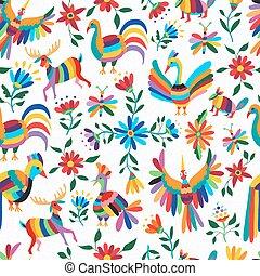 configuración de animal, flores, mexicano, arte