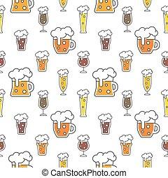 configuración el diseño, colorido, cerveza, seamless, tipos