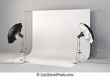 configurar, luzes, estúdio, fundo, branca, 3d