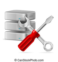Database icon - Configuring Database icon. Illustration on...