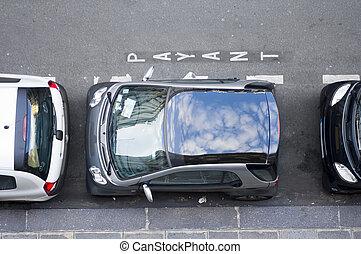 confinado, espaço estacionamento
