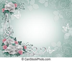 confine floreale, rose, invito
