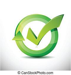 confira mark, –, aprovação, sinal, ciclo