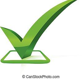 confira mark, com, bisel, efeito, verde, vetorial