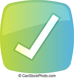 Confirm navigation icon glossy button, square shape