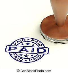 confirmación, estampilla, cuenta, pagado, pago, exposiciones