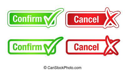 confirmar, &, cancelamento, botões, com, checkmarks