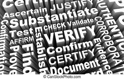 confirmar, collage, verificar, cheque, validate, render, palabra, ilustración, demostrar, 3d