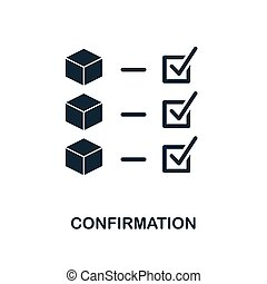 Confirmation icon. Monochrome style design from blockchain icon collection. UI and UX. Pixel perfect confirmation icon. For web design, apps, software, print usage.