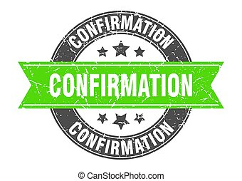 confirmation round stamp with ribbon. label sign - ...