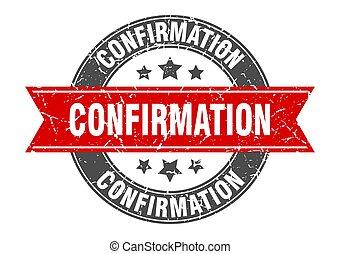 confirmation, timbre, signe, étiquette, rond, ribbon.