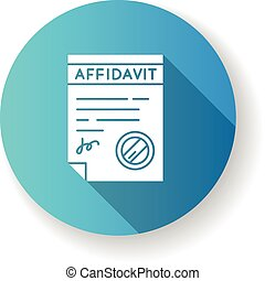 Confirmed affidavit blue flat design long shadow glyph icon...