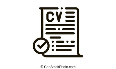 confirmed resume Icon Animation. black confirmed resume animated icon on white background
