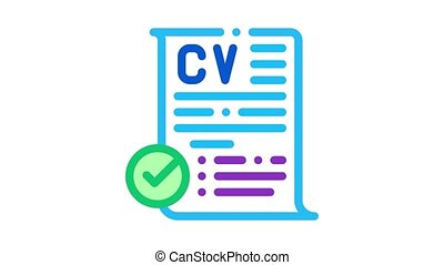 confirmed resume Icon Animation. color confirmed resume animated icon on white background