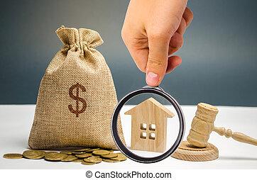 confiscation, gavel., payment., registre, taxes., sac, non-payment, propriété, alienation., propriété, propriété, maison, property., taxpayers, impôts, argent, dû, enchère, vrai