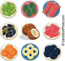 confit, doux, ensemble, coloré, fruits