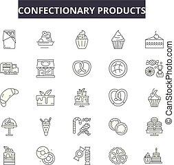 confitería, productos, línea, iconos, señales, conjunto,...