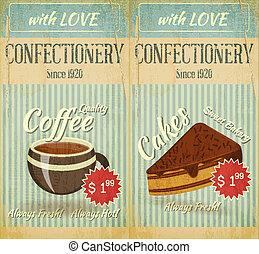 confitería, vendimia, dos, menú, postre, tarjetas, café
