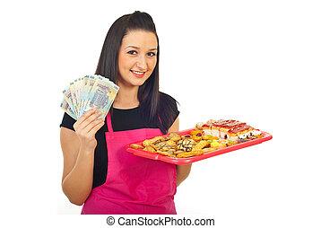 confitero, teniendo dinero