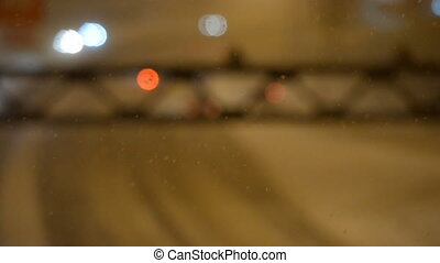 confiture, hiver, highway., nuit, trafic voiture