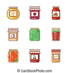 confiture, légumes, ensemble, miel, pots